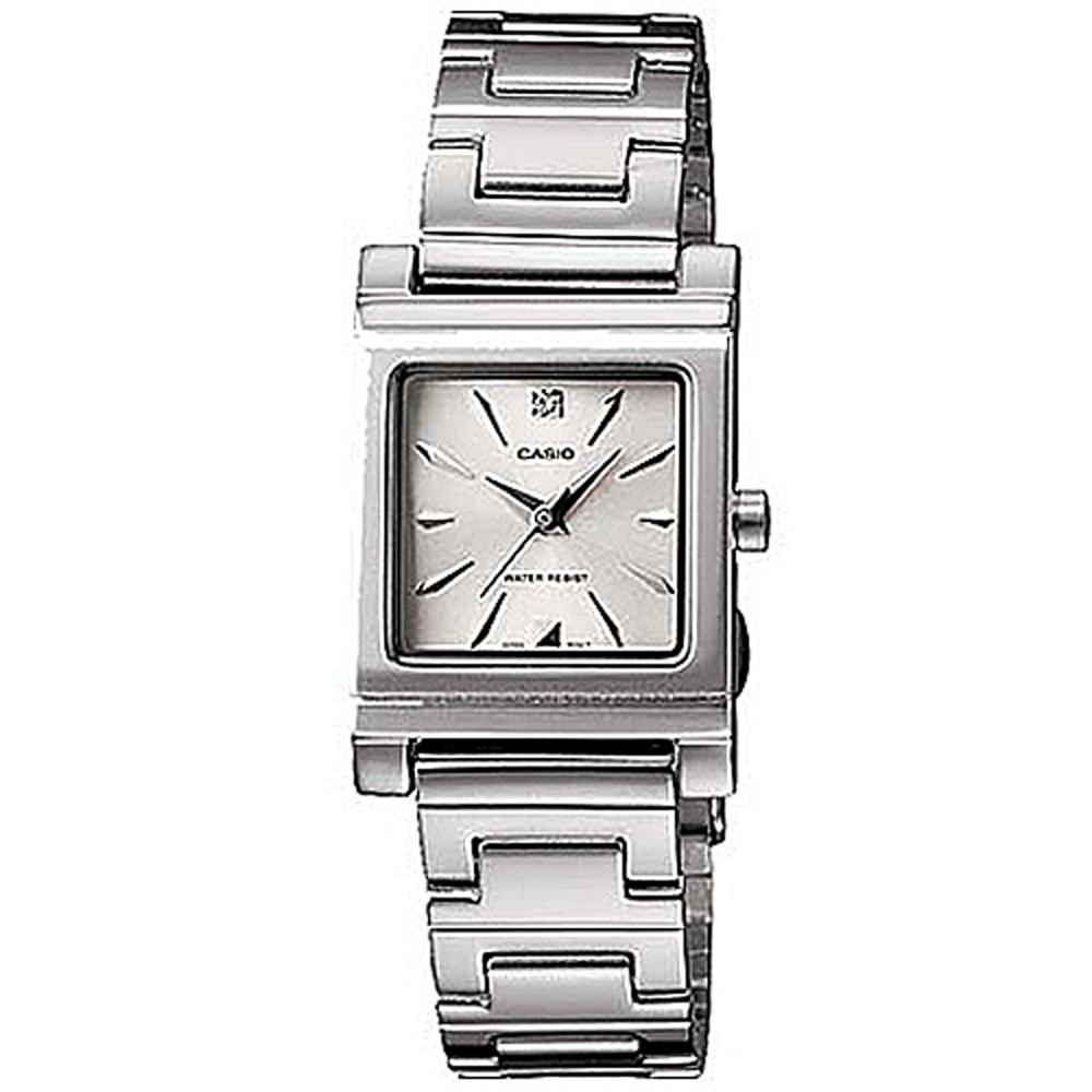 CASIO 知性方采氣質型女錶腕(LTP-1237D-7A2)-銀白