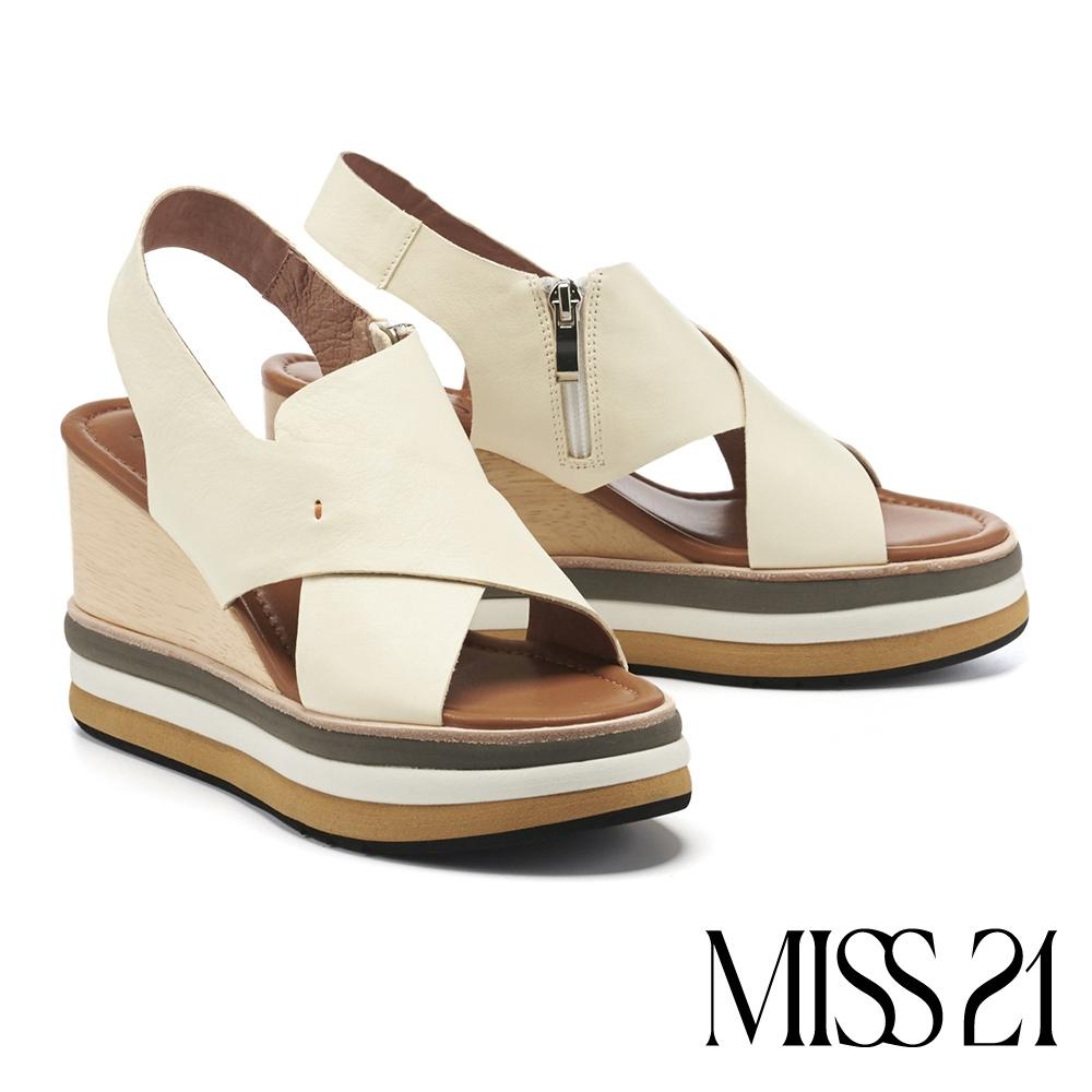 涼鞋 MISS 21 新潮復古交叉繫帶撞色木紋楔型厚底涼鞋-米