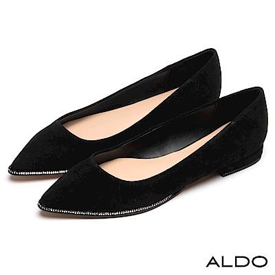 ALDO 原色真皮鞋面鑲嵌璀璨流線水鑽尖頭平底鞋~尊爵黑色