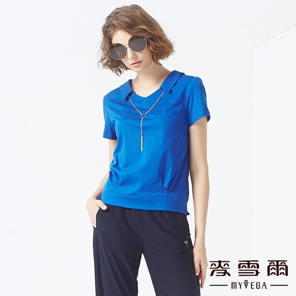 MYVEGA麥雪爾 天絲棉簡約項鍊裝飾上衣-寶藍