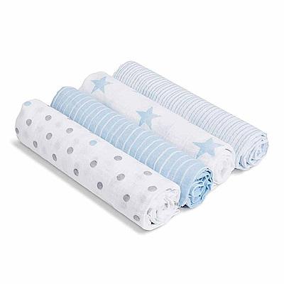 美國aden+anais新生兒外出包巾(4入)-藍星點系列AA-S3101
