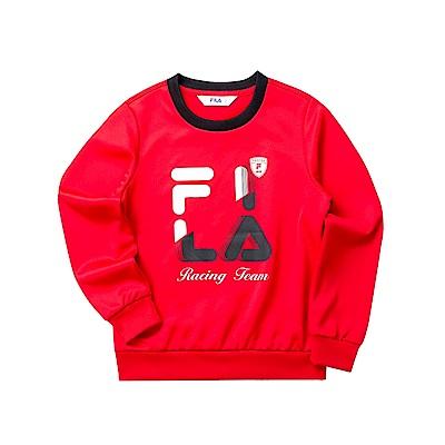 FILA KIDS 女童長袖針織圓領T恤-紅色 5TET-8408-RD