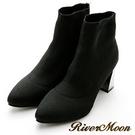 River&Moon襪靴-簡約美感~針織襪套金屬跟踝靴
