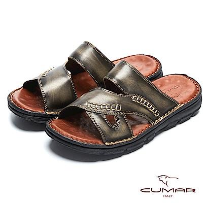 CUMAR 舒適真皮 經典舒適皮拖鞋-黑