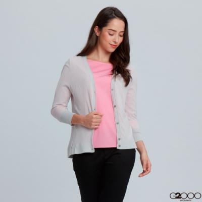 G2000素面七分袖針織外套-淺灰色