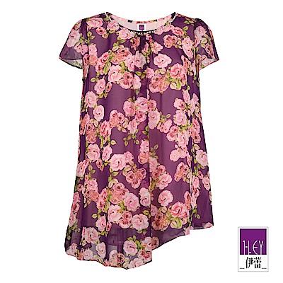 ILEY伊蕾 優雅玫瑰印花雪紡上衣(紫)