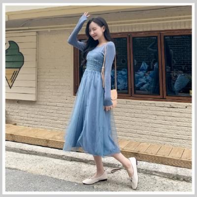 連身裙 假兩件網紗拼接長袖洋裝DU9593-創翊韓都