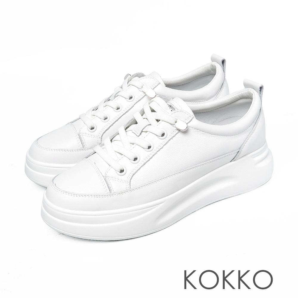 KOKKO 率性假綁帶厚底牛皮休閒鞋椰奶白