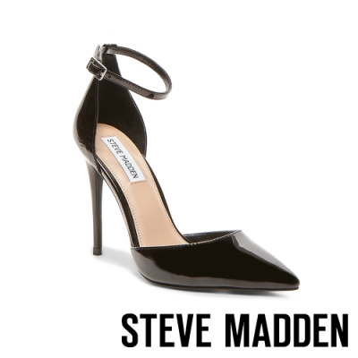 STEVE MADDEN-MIKAELA知性美學素面側空繫帶尖頭高跟鞋-鏡黑色