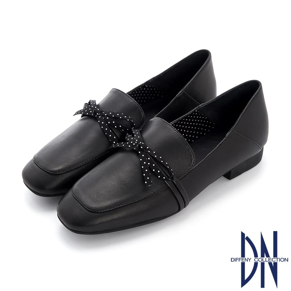 DN樂福鞋_柔軟素色羊皮點點蝴蝶結樂福跟鞋-黑