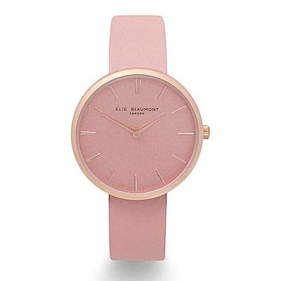 Elie Beaumont 英國時尚手錶HAMPSTEAD系列 嫩粉x磨砂玫瑰金框38mm