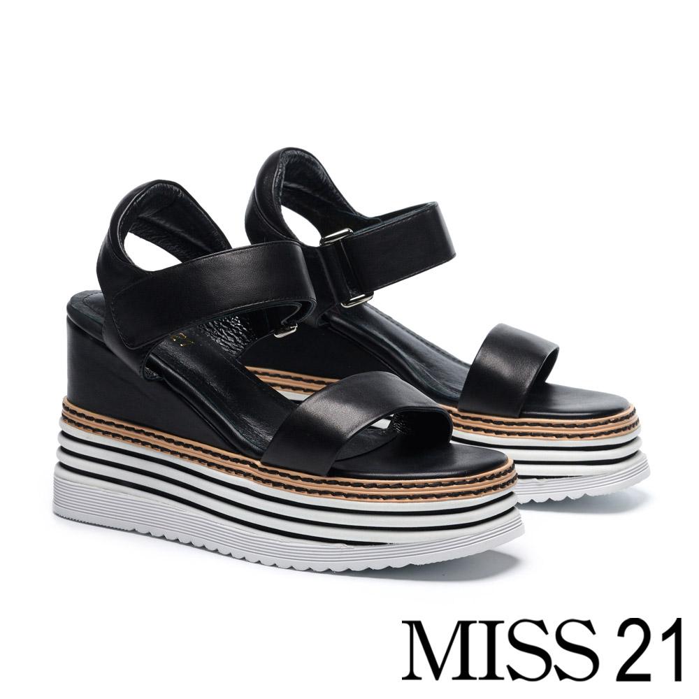 涼鞋 MISS 21 極簡率性一字帶層次厚底牛皮楔型涼鞋-黑