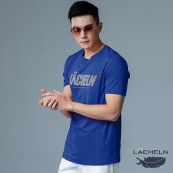 【LACHELN】抗UV吸排彈性印刷男圓領短T恤-L92MA06寶藍色