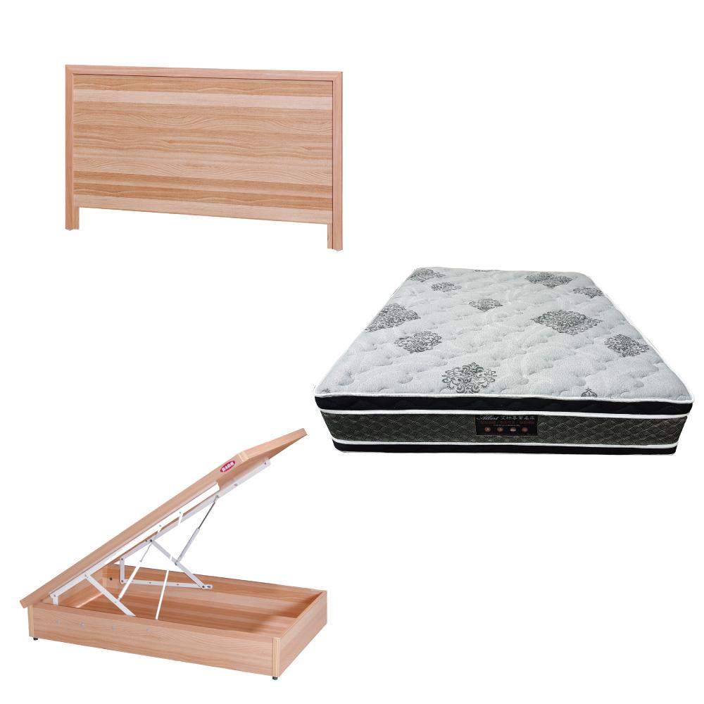 綠活居 梅可3.5尺單人床台三式組合(床頭片+後掀床底+正四線柔纖獨立筒)五色可選