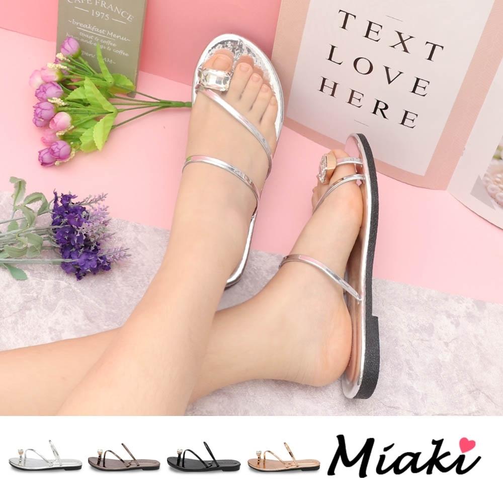Miaki-涼鞋.金屬感夏日亮眼平底涼鞋 (銀色)
