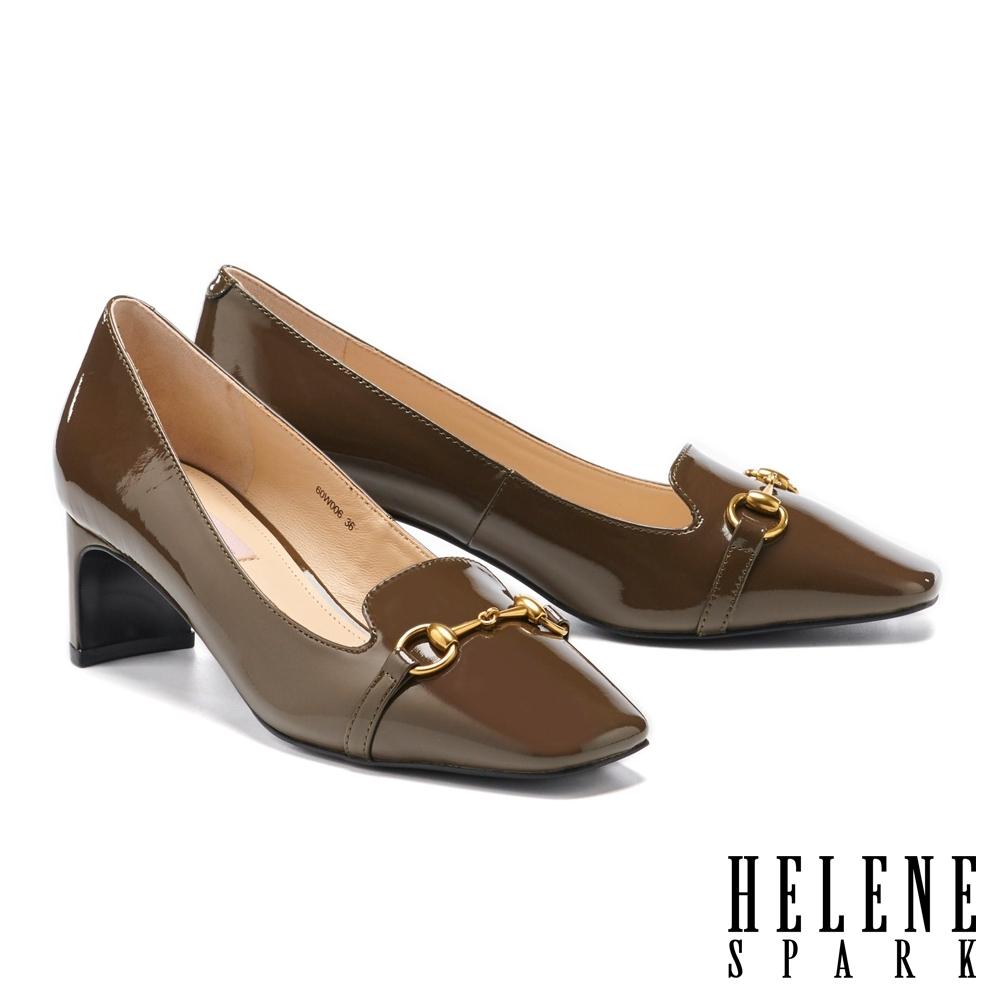 高跟鞋 HELENE SPARK 知性時尚馬銜釦方頭高跟鞋-綠