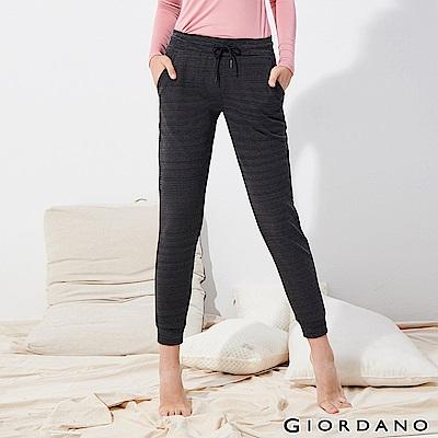 GIORDANO 女裝素色抽繩運動休閒束口褲-44 仿段彩黑