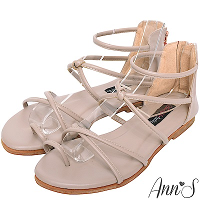 Ann'S好看的減壓柔軟羅馬平底涼鞋-藕灰