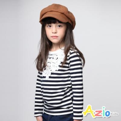 Azio Kids 女童 上衣 刺繡蕾絲花邊條紋長袖上衣 (深藍)