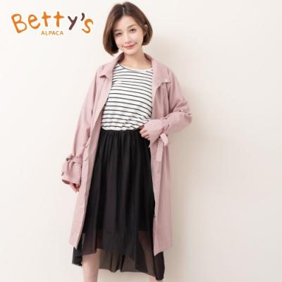 betty's貝蒂思 假兩件七分袖連身長洋裝(白色條紋)
