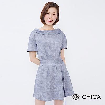 CHICA 復古優雅斜側翻領綁帶棉麻洋裝(2色)
