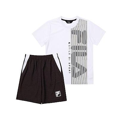 FILA KIDS 童吸濕排汗短袖套裝-白色 1WTT-4907-WT