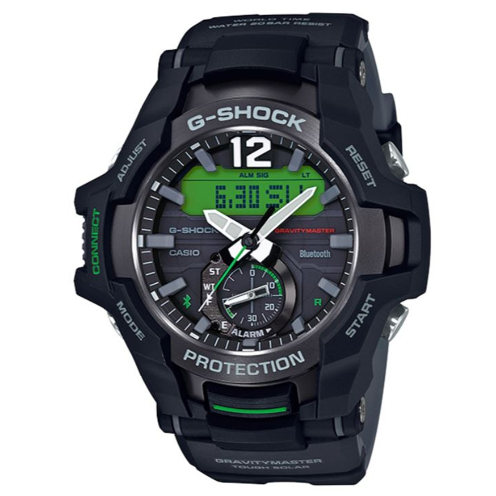 G-SHOCK 飛行員專屬太陽能藍芽錶-黑x綠(GR-B100-1A3)/53.8mm
