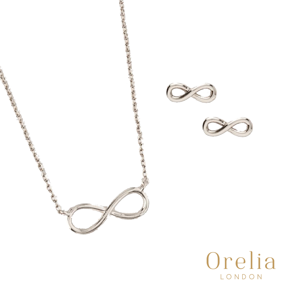 Orelia 英國倫敦 經典無限鍍銀耳環項鍊套組
