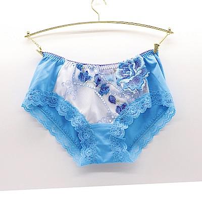 莎露-  璀璨M-L 中低腰平口褲(藍)奢華刺繡蕾絲