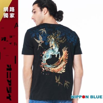 日本藍 BLUE WAY –進口金標-精繡鹿神短TEE