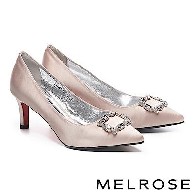 高跟鞋 MELROSE 高雅奢華璀璨晶鑽方釦緞布尖頭高跟鞋-粉