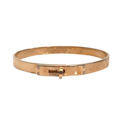 HERMES 經典Bracelet Kelly鑽石鑲飾轉釦手環(小-玫瑰金)