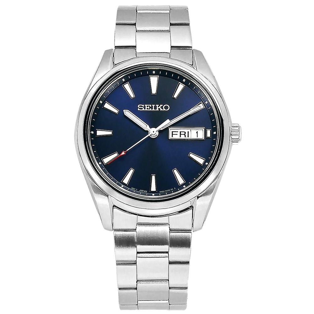 SEIKO 精工 簡約時尚 日期 防水100米 不鏽鋼手錶-藍色/40mm