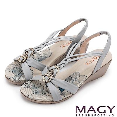 MAGY 夏日甜心 圓形鑽飾麻編牛皮涼鞋-藍色