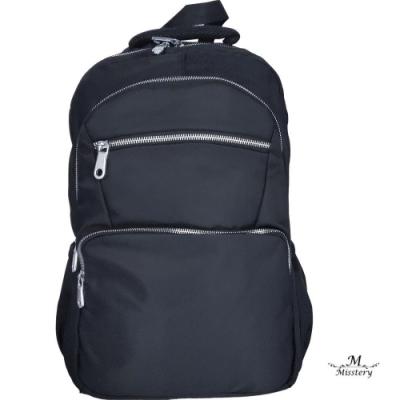 【Misstery】減壓背帶進口防潑水面料後背包休閒電腦包公事包-黑