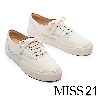 休閒鞋 MISS 21 經典百搭必備純色全真皮厚底休閒鞋-米白