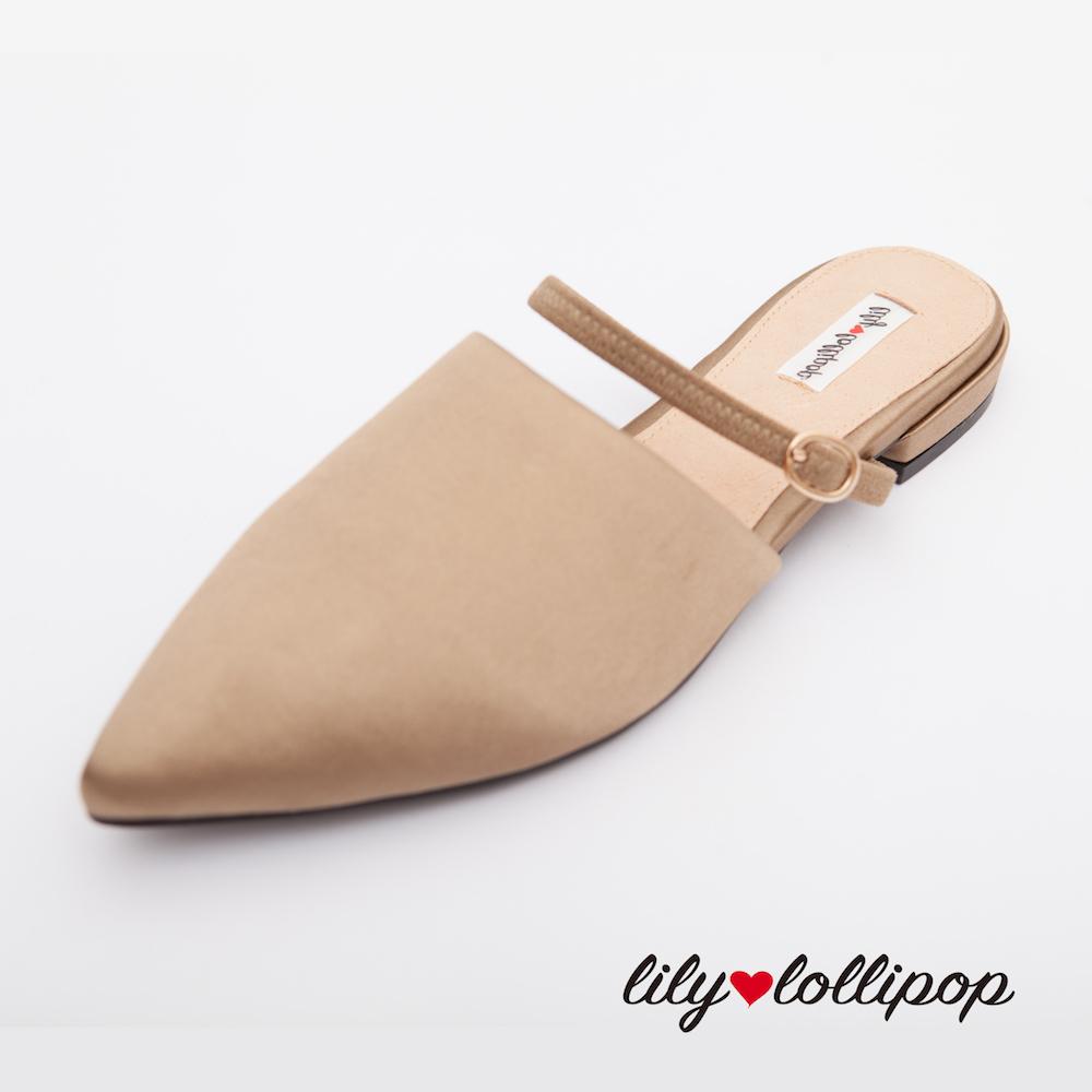 Lilylollipop Claudia尖頭緞面平底鞋--古銅色