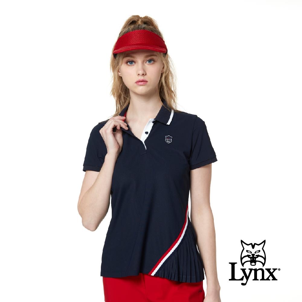 【Lynx Golf】Korea 女款星星圖案配色領片短袖POLO衫-深藍色