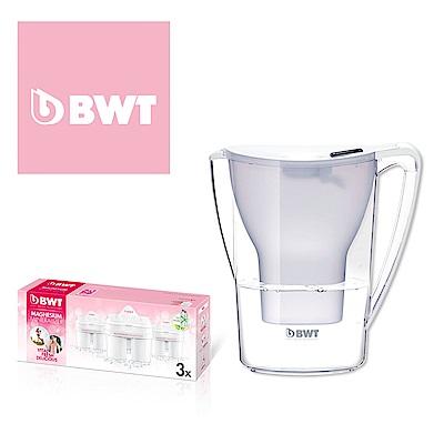 BWT德國倍世 Mg2+鎂離子濾水壺2.7L(白) + 8週長效濾芯(三入組)(共四芯)