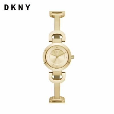 【DKNY】City link D字 金色不鏽鋼手鐲錶 24MM NY2750