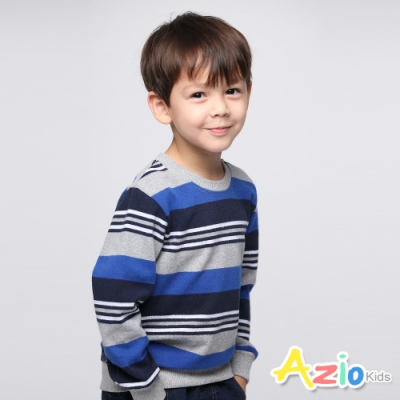 Azio Kids 男童 上衣 休閒圓領雙色橫條紋上衣 (藍)
