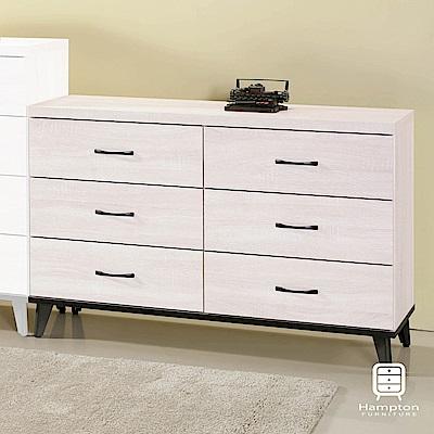漢妮Hampton柯拉系列鋼刷白六斗櫃-120.8x40.2x79.9cm