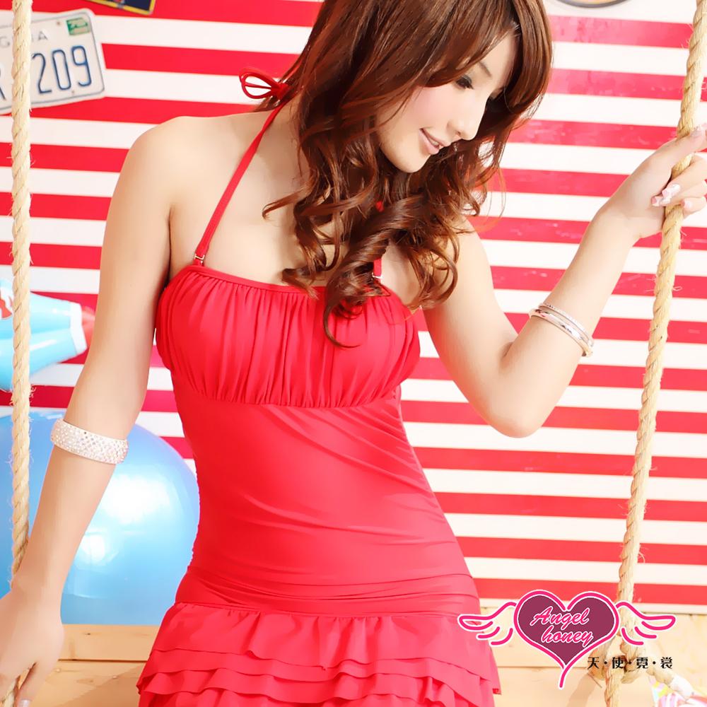 泳衣 可人甜美 素色一件式連身泳裝(紅M.L) AngelHoney天使霓裳