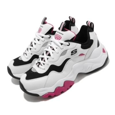 Skechers 休閒鞋 D Lites 3 老爹鞋 女鞋 厚底 增高 修飾 皮革鞋面 復古 穿搭 白 黑 88888398WBHP