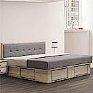 綠活居 利斯瑪6尺亞麻布雙人床組(床頭片+四抽底+不含床墊)-182x204x93cm免組
