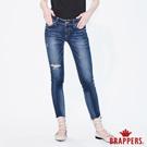 BRAPPERS 女款 新美腳ROYAL系列-中低腰褲口不規則剪裁七分褲-藍-動態show