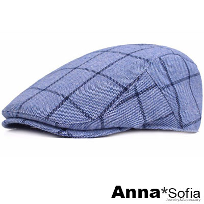 AnnaSofia 粗線條長格紋 棉質鴨舌帽小偷帽(天藍系)