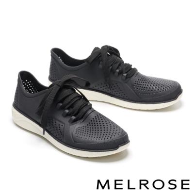 休閒鞋 MELROSE 簡約時尚沖孔綁帶厚底休閒鞋-黑