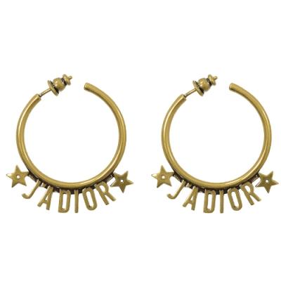 Christian Dior J ADIOR 圓環立體LOGO個性耳環(金)