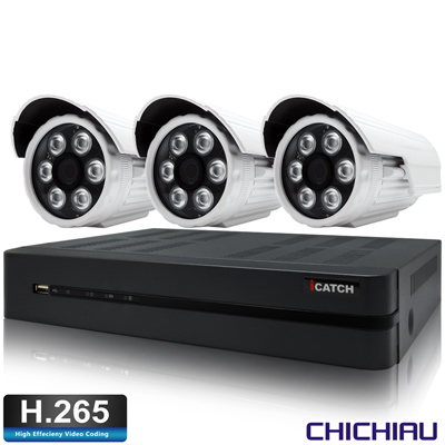 奇巧H.265 4路5MP iCATCH監控組含SONY1080P200萬鏡頭*3